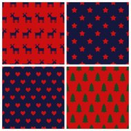 Set of simple seamless Christmas patterns