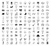 Gros doodle set, icône de la collection, vector.