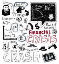 Financial crisis doodle, hand drawn illustration.