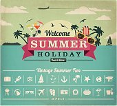 Summer vacation vintage vector