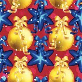 New Year pattern with ball. Christmas wallpaper with ribbon.