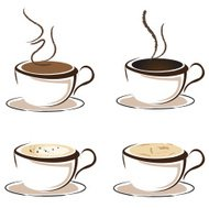Coffee cup vector icon set