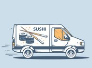 Vector illustration of van free and fast delivering sushi