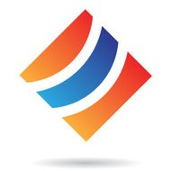 Orange and Blue Abstract Square Icon
