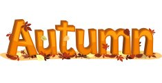 Autumn Sign with falling leaves.