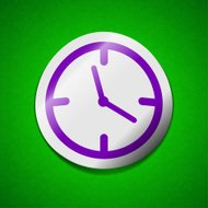 Alarm clock icon sign. Symbol chic colored sticky label on