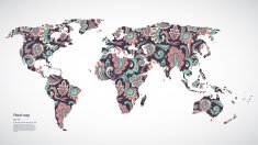 Beautiful Vector Floral world map