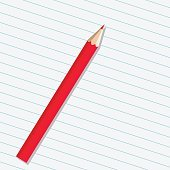 Red pencil on a sheet of paper