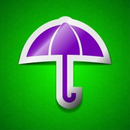 Umbrella icon sign. Symbol chic colored sticky label on green
