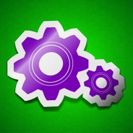 Cog settings icon sign. Symbol chic colored sticky label on
