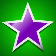 Star icon sign. Symbol chic colored sticky label on green