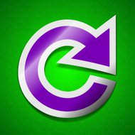 update icon sign. Symbol chic colored sticky label on green