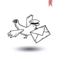 carrier pigeon with pilot cap and letter. Hand-drawn vector illu