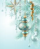 Christmas balls on fir branch, holiday illustration Isolated on white
