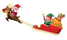 Santa and elf riding reindeer sleigh