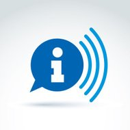 Speech bubble with information sign, blue vector podcast icon.