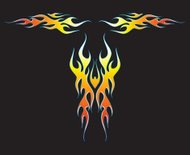 Flames decal. Fire. Vector. 2 sides, 1 front. 3D-look