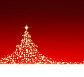 Christmas tree on red background.