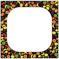 Fruits frame made with different fruits over dark background