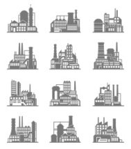 Industrial building icons set