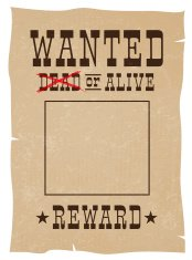 Wanted Dead or Alive reward vintage poster