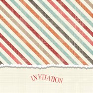 invitation card with vintage diagonal colorful lines