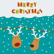 Christmas card with two deers
