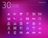 Travel concept outline icons set