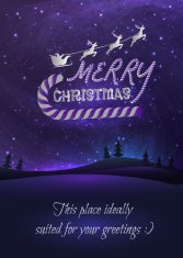 Merry Christmas greeting card with shiny stars in night skies,