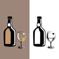 glass and bottle cognac