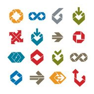Abstract unusual vector symbols set, creative stylish icons