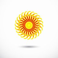 abstract yellow circle floral icon for design
