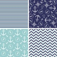 Seamless pattern with marine anchor and wind rose symbols