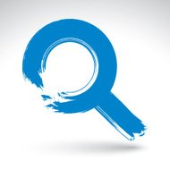 Hand-painted blue magnifying glass icon isolated on white