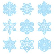 vector set - light blue snowflakes