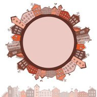 Collection of houses vintage on white background Retro card. vec