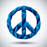 Blue peace geometric icon made in 3d modern style