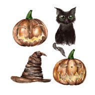 Set with black cat and pumpkin