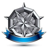 3d vector classic royal symbol, sophisticated silver emblem