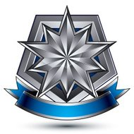 Sophisticated vector emblem with silver glossy star