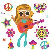 Hippie girl with guitar and psychedelic art elements