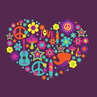 Print with floral heart  and psychedelic elements