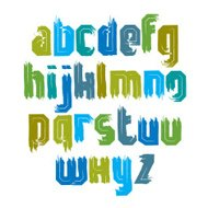 Handwritten colorful vector lowercase letters, stylish letters