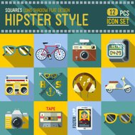 Hipster style design square icon set. Trendy illustrations.
