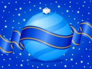 Christmas ball and ribbon blue