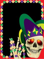 Mardi Gras Skull and Jester Hat