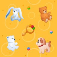 Childish colorful pattern with plush toys, ball and rattle
