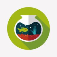 Pet fish bowl flat icon with long shadow,eps10