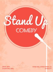 Stand up comedy event poster with white microphone stand