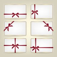 Set of gift cards with ribbons. Vector background or template.